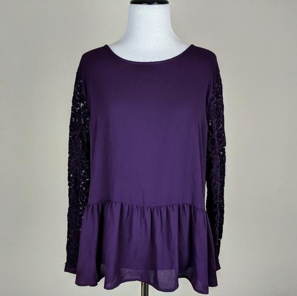 09e20893 LOFT Tops | Petite Purple Lace Sleeve Peplum Top | Poshmark